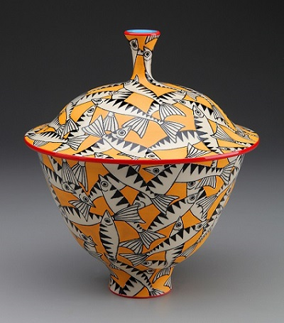 Lidded Bowl with Mackerel