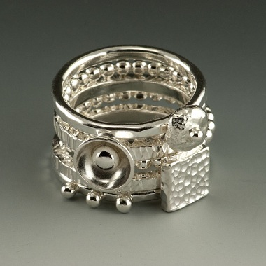 Textured and Hammered Stacking Sterling Silver Rings with Adornments