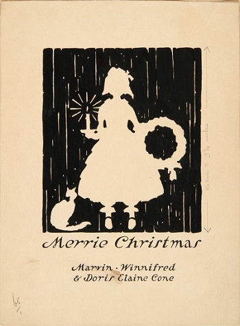 Design for Christmas Card (Merrie Christmas: Marvin, Winnifred, & Doris Elaine Cone)